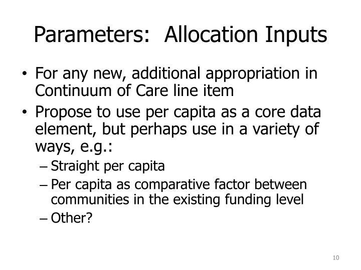 Parameters:  Allocation Inputs
