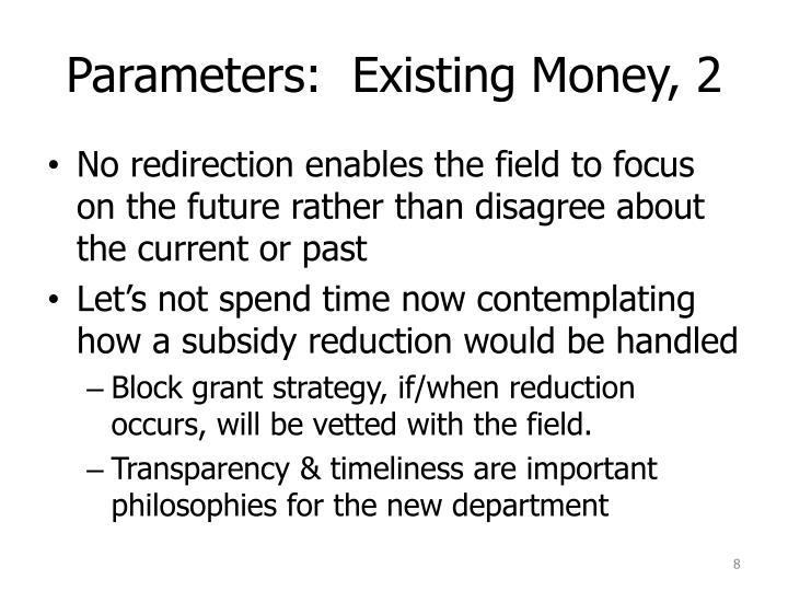 Parameters:  Existing Money, 2