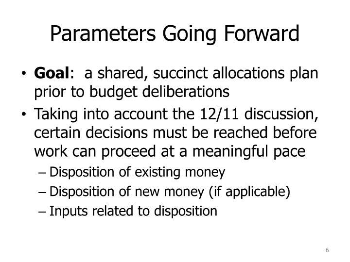 Parameters Going Forward
