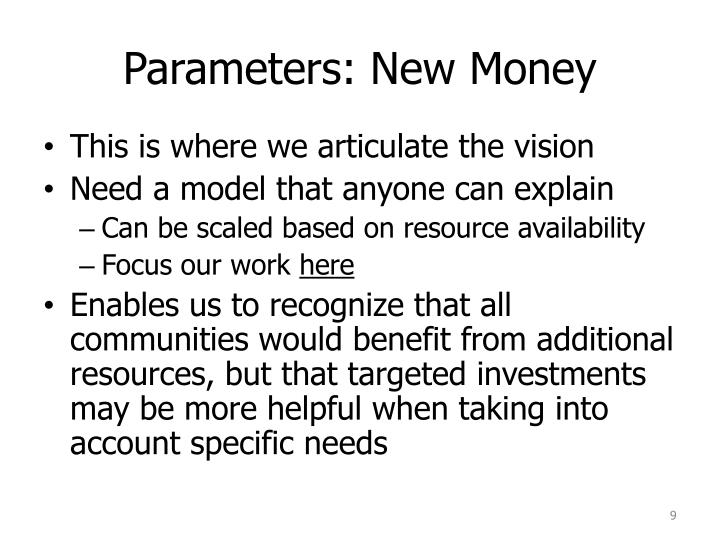 Parameters: New Money
