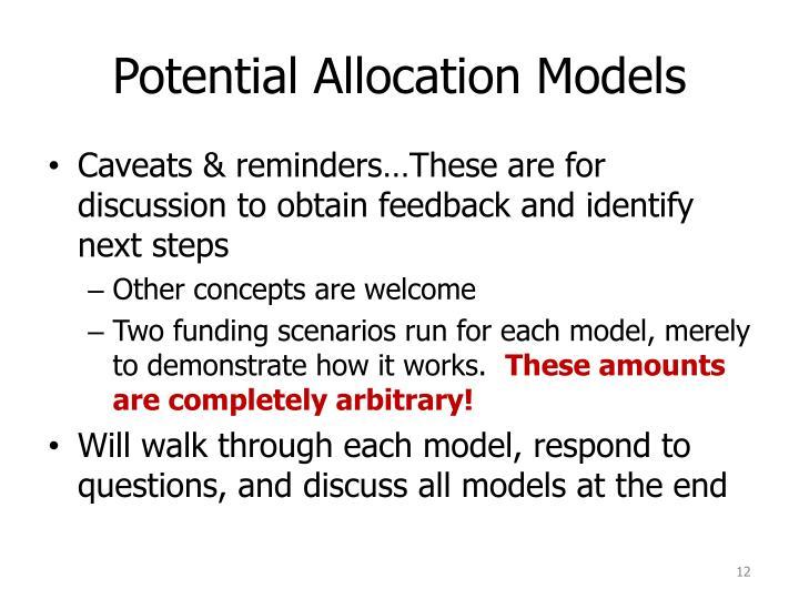 Potential Allocation Models