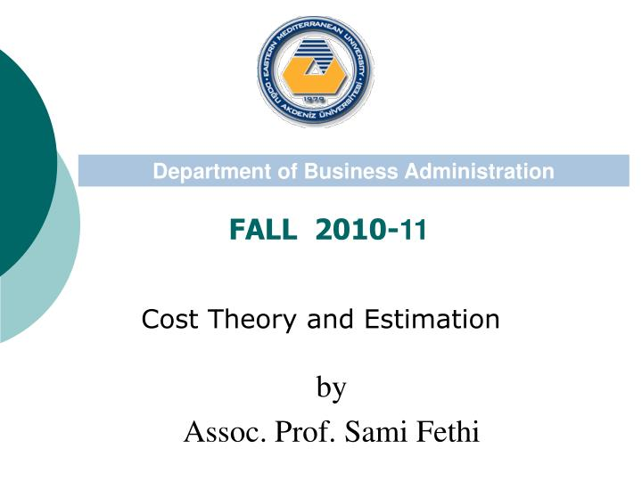 cost theory and estimation n.
