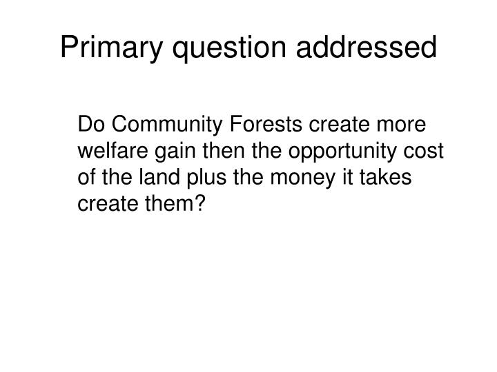 Primary question addressed