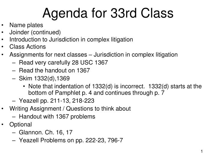 agenda for 33rd class n.