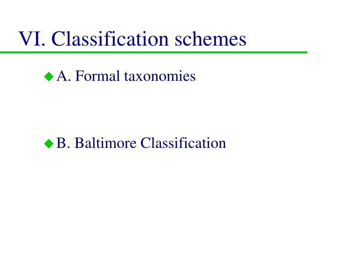 VI. Classification schemes