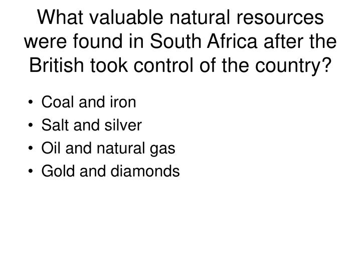 What valuable natural resources were found in South Africa after the British took control of the country?