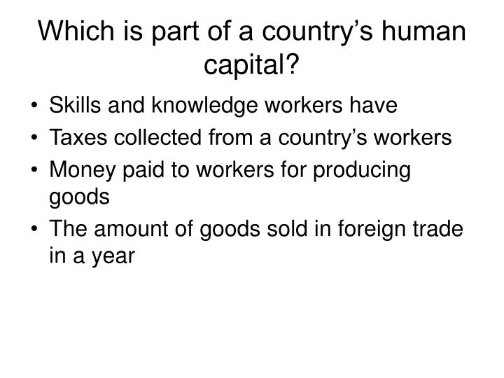 Which is part of a country's human capital?