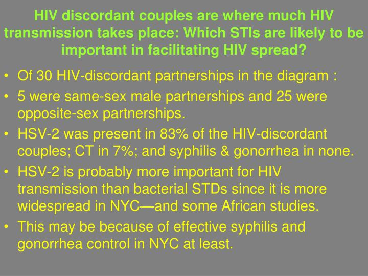 HIV discordant couples are where much HIV transmission takes place: Which STIs are likely to be important in facilitating HIV spread?