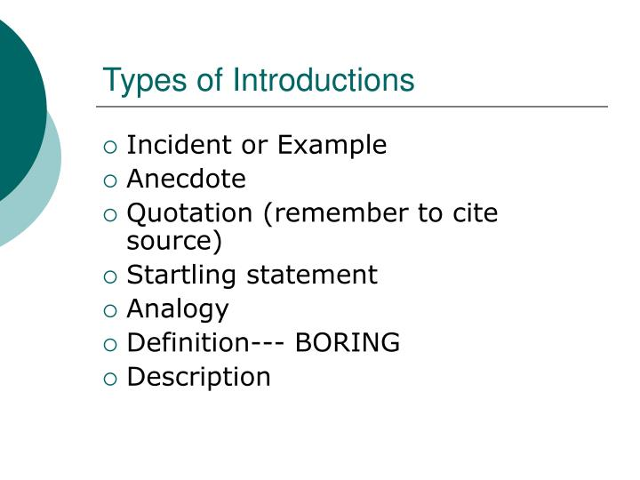 Types of Introductions