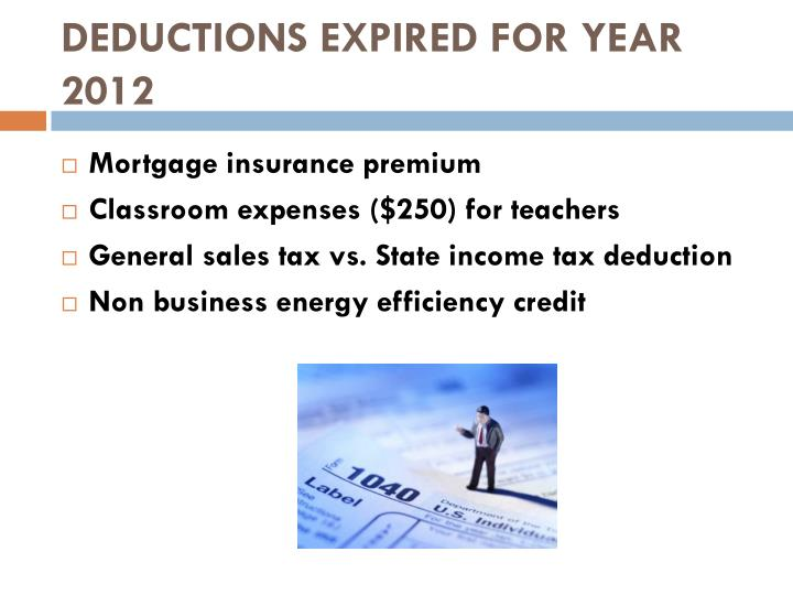 DEDUCTIONS EXPIRED FOR YEAR