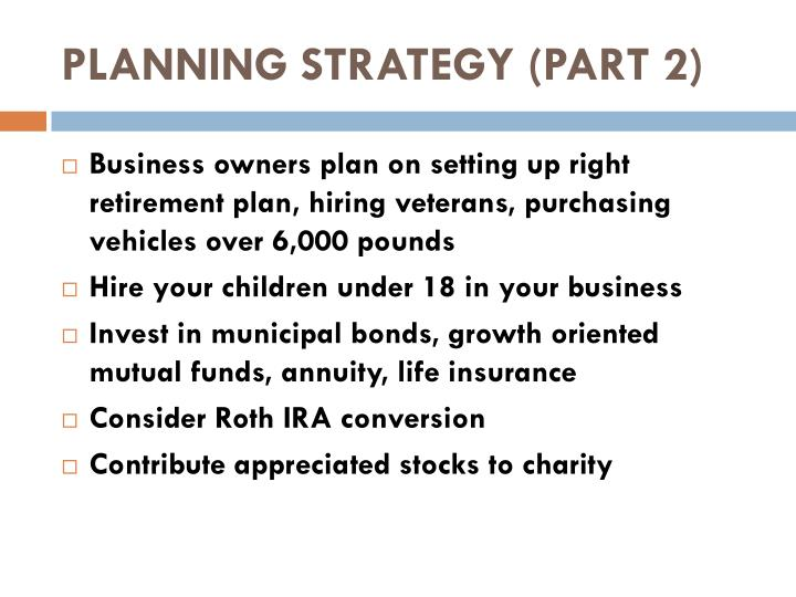 PLANNING STRATEGY (PART 2)