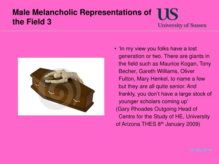 Male Melancholic Representations of