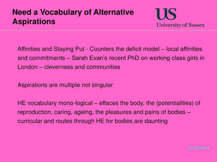 Need a Vocabulary of Alternative Aspirations