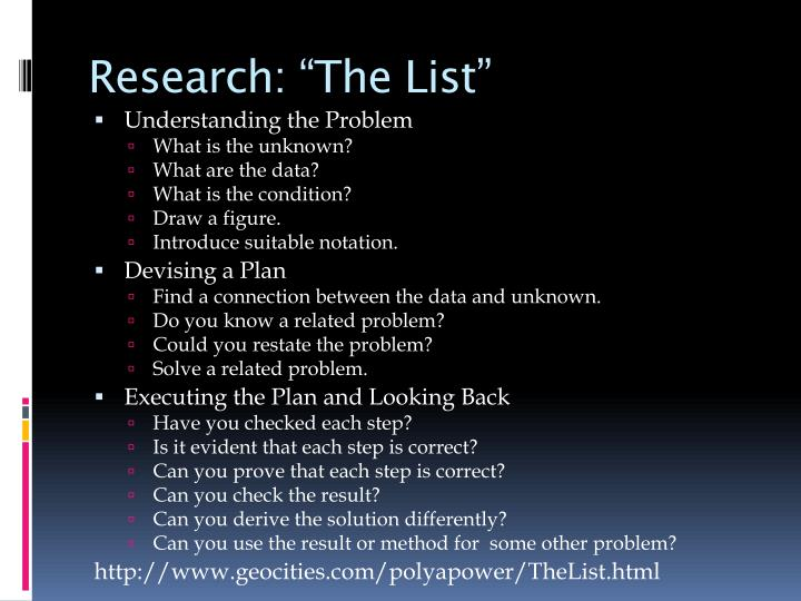 """Research: """"The List"""""""