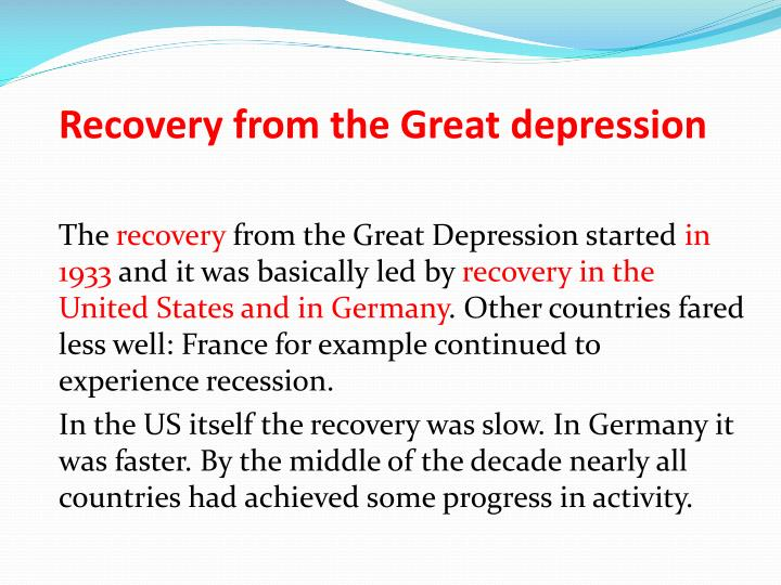 Recovery from the Great depression