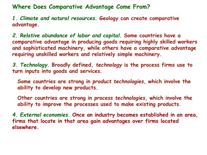 Where Does Comparative Advantage Come From?