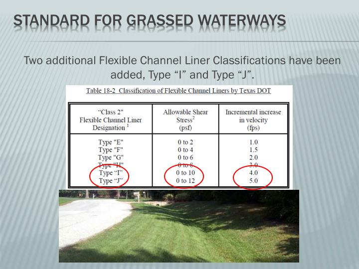 "Two additional Flexible Channel Liner Classifications have been added, Type ""I"" and Type ""J""."