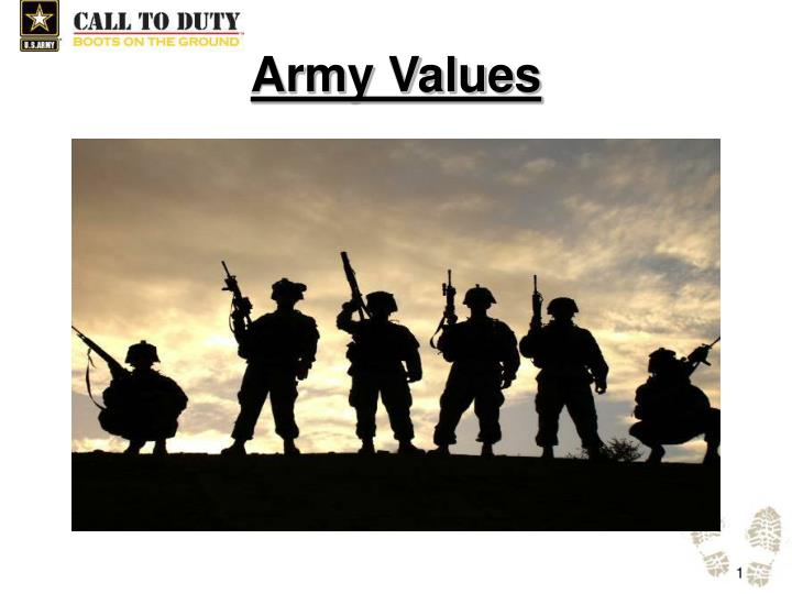 the importance of respect in the army values The army's core values are loyalty, duty, respect, selfless service, honor, integrity and personal courage they form the acronym ldrship fulfilling your obligations as an american soldier is.