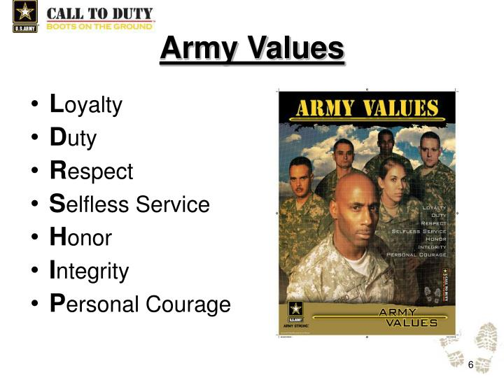 the army values and standards