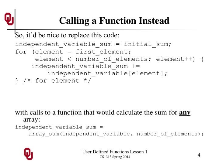 Calling a Function Instead