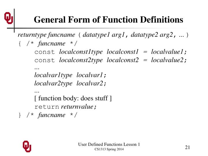 General Form of Function Definitions