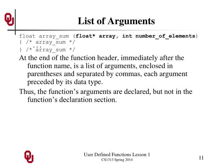 List of Arguments