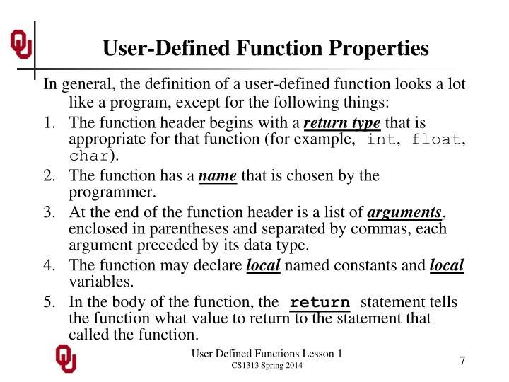 User-Defined Function Properties