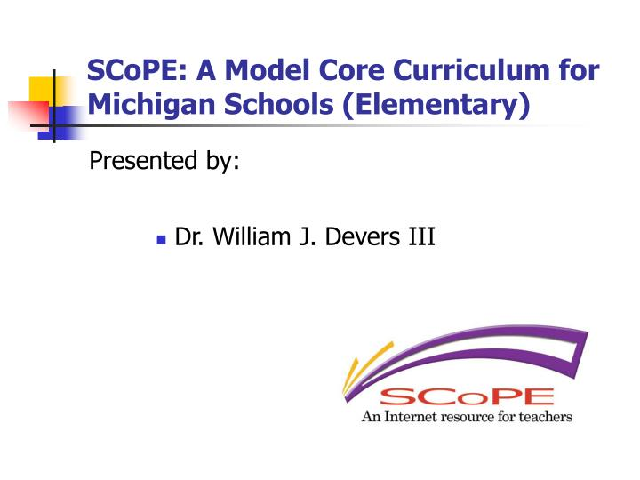 scope a model core curriculum for michigan schools elementary n.