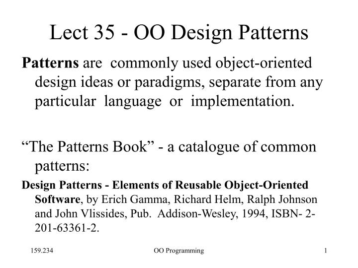 Ppt Lect 35 Oo Design Patterns Powerpoint Presentation Free Download Id 1720449