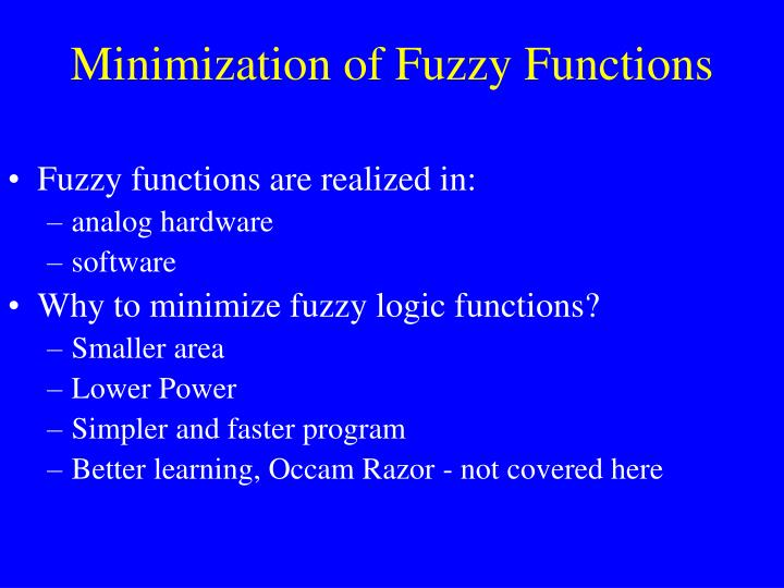 Minimization of fuzzy functions