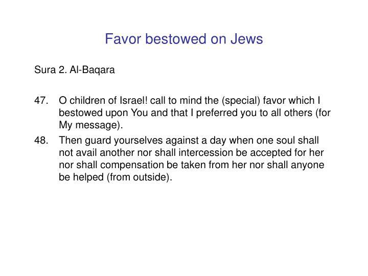 Favor bestowed on Jews