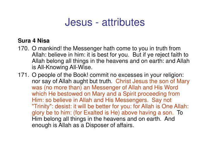 Jesus - attributes