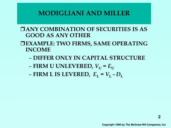 Modigliani and miller