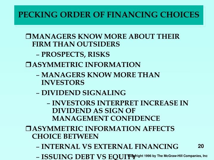 PECKING ORDER OF FINANCING CHOICES