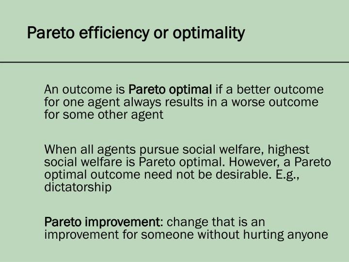 Pareto efficiency or optimality