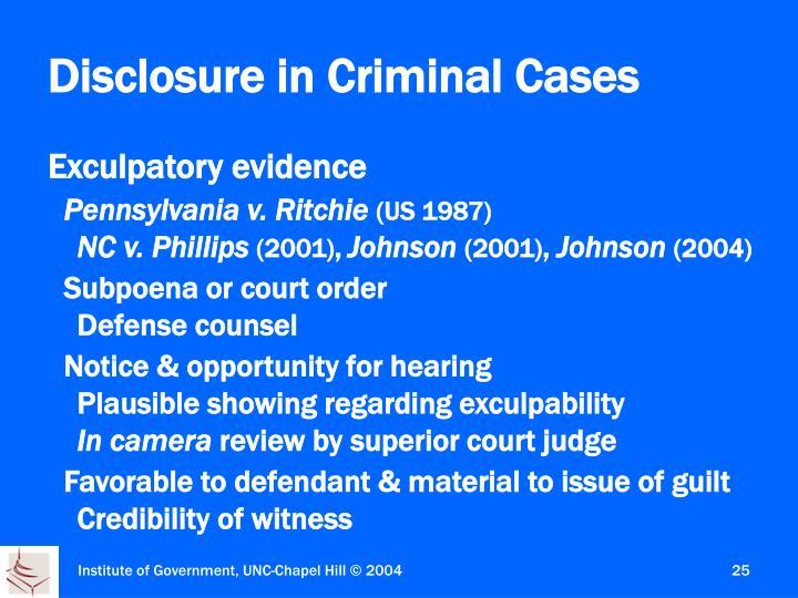 Disclosure in Criminal Cases