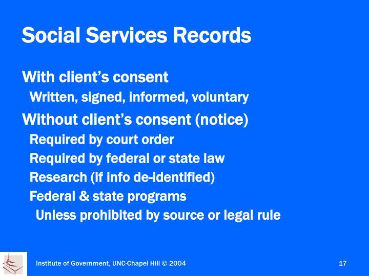 Social Services Records