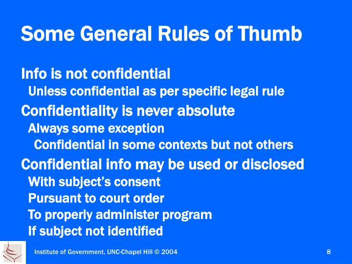 Some General Rules of Thumb