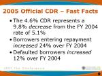 2005 official cdr fast facts