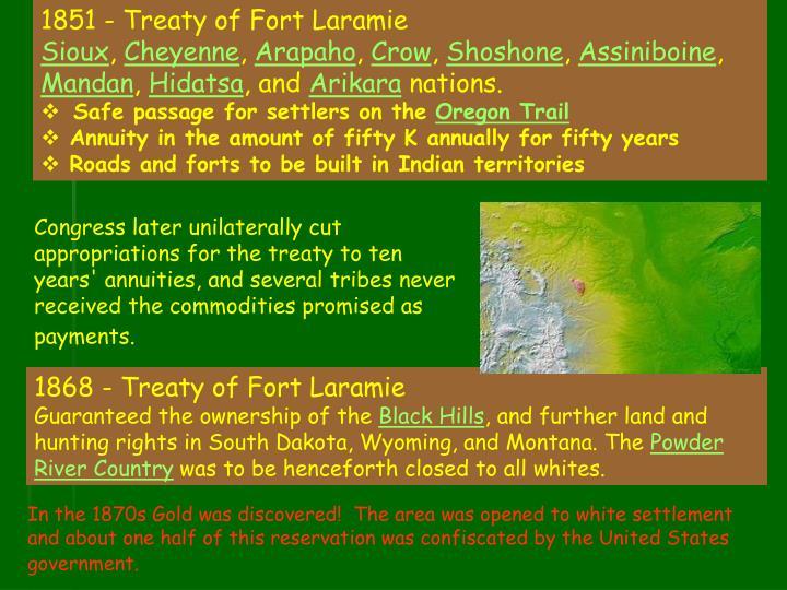 1851 - Treaty of Fort Laramie