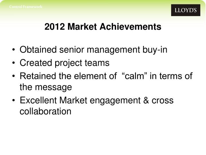 2012 market achievements