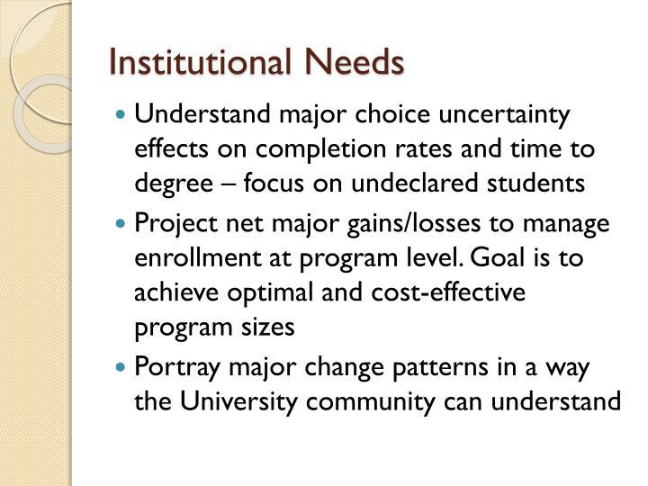 Institutional needs