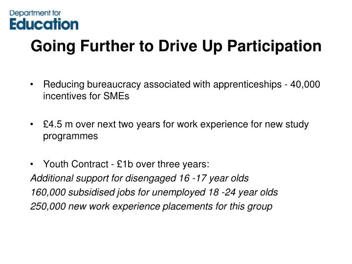 Going Further to Drive Up Participation