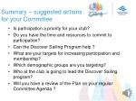 summary suggested actions for your committee