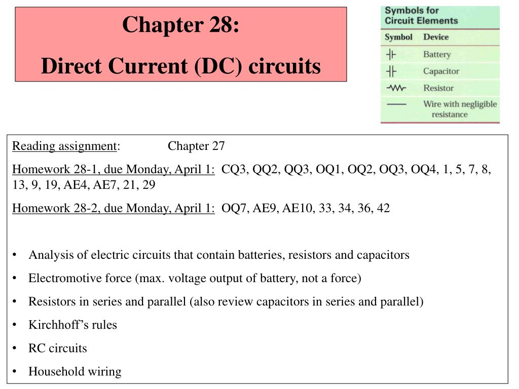 Ppt Chapter 28 Direct Current Dc Circuits Powerpoint Electric Slide1 N