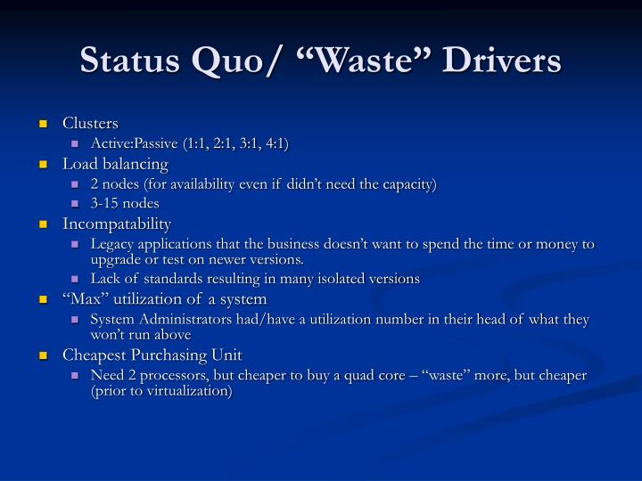"""Status Quo/ """"Waste"""" Drivers"""