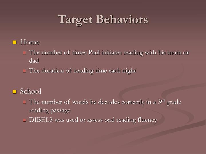 Target Behaviors