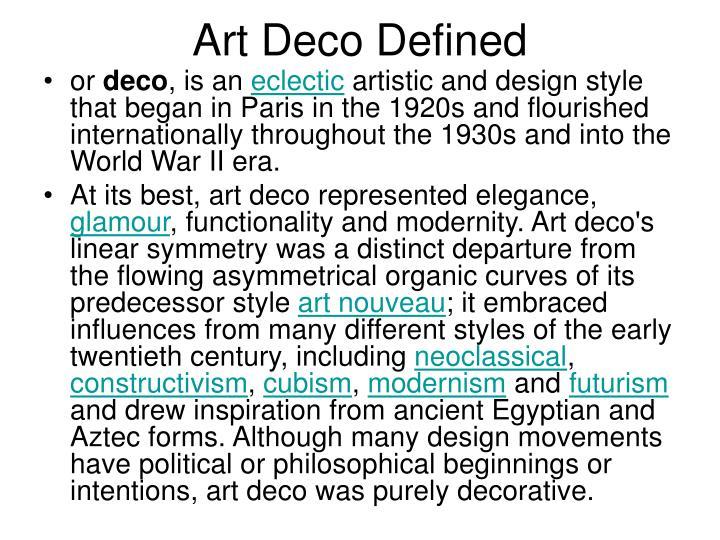 Art Deco Defined