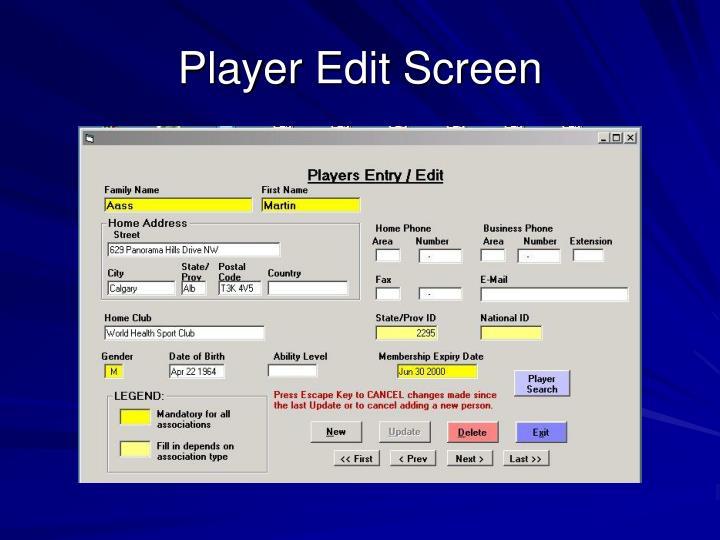 Player Edit Screen