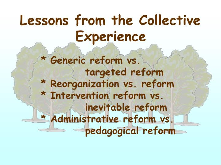 Lessons from the Collective